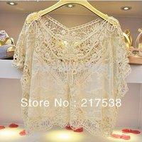 1pc/lot 651400 Women's Sweet Beige Lace  Hollow Flower Batwing Loose Blouse Shirt Tops
