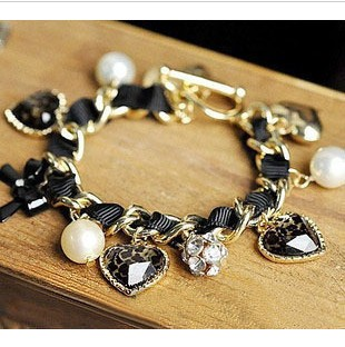 Min Order $10 Heart Leopard Pearl Ball Bracelet Jewelry Free Women Delivery Bangles 1pcs(China (Mainland))