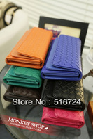Free shipping European and American hand-woven wallet couple the double flip fold long section of Ms. lattice Clutch