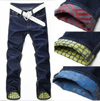 2013 free shipping Korea Men's Jeans Slim Fit Classic denim Jeans Trousers Straight Leg Blue Size 30~34