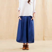 Free shipment  Linen bust skirt   pleated  bottom skirt  fashion buttons and pocket decoration free size 4 colors