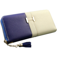 Women's medium-long wallet genuine pigskin leather clutch color block  buckle decoration soft zipper bag color block casual