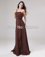Free Shipping cheap Unique Best-selling Genreous Chiffon Strapless Hand Flower Floor Length Women's Bridesmaid Dress