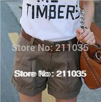 Hot Sale Women's Plus Size100%  cotton 5 color slim short  pants trousers,R93, DY F539