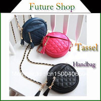 2013 candy color round of small chain bag plaid tassel fashion one shoulder cross-body women's cheap fashion handbag bag