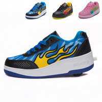 Free shipping new Arrivals!! single-wheel invisible slider automatic Heelys Roller Shoes BlueSky Green Size 30-43