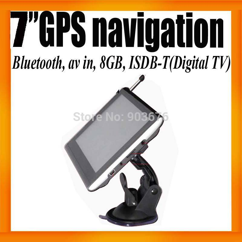 Free Shipping 7&quot;HD Car GPS Navigation System+ISDB-T+Digital TV+Bluetooth+AV IN+FMT+8GB Card +Ebook 800X480 IGO Map Voice Guiding(Hong Kong)