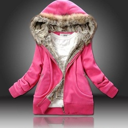 free shipping manufacturers supply women Fur Collar hooded sweater women clothing M-XL lady coat,lady fashion clothes(China (Mainland))