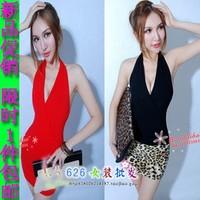 2013 spring fashion halter-neck deep V-neck women's slim elegant slim hip sexy one-piece dress