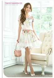 A333 Hot the recommended color flower elastic chiffon dress ,Free Shipping!(China (Mainland))