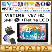 2GB RAM 16GB Quad core RK3188 1.8Ghz VISTURE V97 HD 9.7inch Android Tablet pc 5MP camera bluetooth 2048x1536 IPS