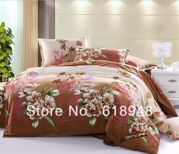 Free Shipping Durable Printed Diamond Cotton Brown 4pcs King/Queen Bedding Set/Duvet Cover/Bed Sheet/Pillowcase W0035