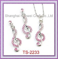 200sets Free Shipping!Alloy Music Symbol Necklace/earring Jewelry Set Pink Rhinestone Metal Fashion Jewelry For Women Hotselling