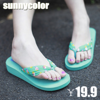 Free shipping Sunnycolor summer flip flops female sandals silk sandals wedges slippers fashion beach women's shoes