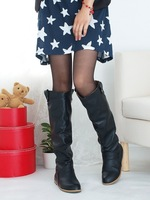 2012 Flatbottomed Wide-Legged Fashion Gaotong Casual Soft Leather Boots Plus Size4-12.5