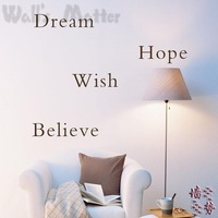 "Characters Wall ""Quote Decals-Dream Hope Wish Believe"" Stickers WALL'S MATTER Home Decor  Free Shipping"