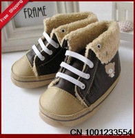 Free shipping 2013 Baby Warm shoes  Toddler shoes Bear pattern BY0001