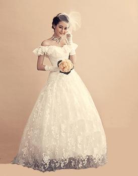 Free shipping Elegant princess wedding dress formal dress new arrival elegant 2013 lace belt bandage slit neckline