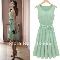 New Design Mint Green Chiffon Dress For Women,Fashion Bohemian Bow Sexy Pleated Prom Dresses(S-XL)Free Shipping