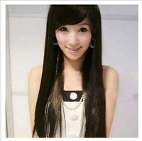 Free shipping Three kinds of color wig girl pure feminine oblique bangs straight long wig +Hair net