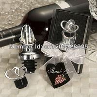 Wedding Heart Design Wine Bottle Pourer and Stopper Set (Set of 12 Boxes)