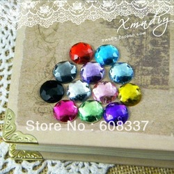 Free Shipping, 180pcs/lot ,10mm Mixed Color Round Shape Flat Back sew on 2 holes acrylic rhinestone, Round Shape Acrylic Stone(China (Mainland))