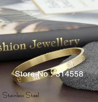 New Fashion 18K Gold Stainless Steel Zircon Screw Bangle Bracelet, Free Shipping Stainless Steel Bangle
