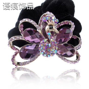 Accessories flannelet Large headband crystal peacock winter hair accessory hair accessory f24