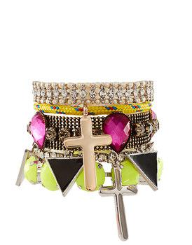 2013 New Fashion Neon Color Cross Rhinestone Multilayer Gold Designer Bracelet Bangles For Women 5 Pieces Set Freeshipping