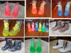 Crystal high transparent water boots female colorful jelly motorcycle boots fashion patent leather martin rainboots water shoes(China (Mainland))