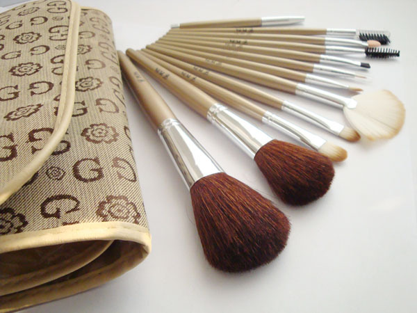 Makeup brush set of 12 pens wool brushes free shipping direct manufacturers(China (Mainland))