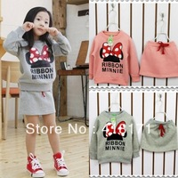 Fashion girls suits girl cute Minnie print long sleeve t shirt + cotton skirt 2pcs suits kids cartoon sets 2colors free shipping