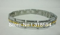 FREE SHIPPING two tone Magnetic titanium energy Bracelet  Magnet golden color bracelet b with gift box