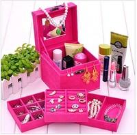 500g L12cm*W12cm*H12cm Korea Small Affirmative Vintage Jewelry Box/Case European Princess Three Layer Jewelry Cosmetics Box/Case
