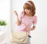 Free shipping new 2013 women fashion chain handbag  spring and summer rivet one shoulder cross-body handbag