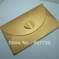 12*19cm Perfect Quality Envelope, Gold ,250g Pearl Paper, Donot Need Sticker, Heart Knot, Wedding Envelope, Business Envelope