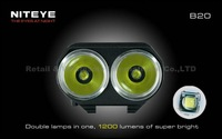 1 Set Niteye B20 Bike Lamp 2x Cree XM-L U2 LED 1200LM IPX-8 MTB Headlight Bike Front Light Headlamp+Remote BLACK