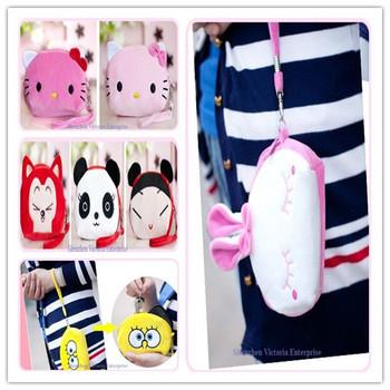 12PCS 2013NEW Kawaii Hello Kitty Etc. Cartoon Plush Wrist BAG ; Phone Pouch CASE Bag; Coin Purse & Wallet Case