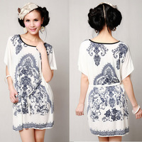 New fashion blue and white porcelain dress loose summer batwing sleeves plus size one piece dress free shipping