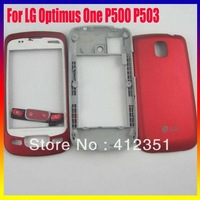 Original and new Housing For LG Optimus One P500 P503 full complete housing cover case Red Full Housing