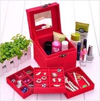 L12cm*W12cm*H12cm Small Affirmative Red Vintage Jewelry Box/Case European Princess Three Layer Jewelry Sets Cosmetics Box/Case