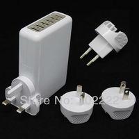 250pcs(50sets), 6 USB Ports Wall Charger Power Adapter with EU/AU/US/UK Plug for iPad iPod iPhone 5 5G 4G 4S Samsung i9300 i9500