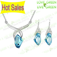 Free Shipping Hotselling factory price Wholesales Austrian Crystal Necklace+Earrings pendant fashion Jewelry sets 3008