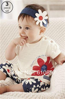 2013 wholesale  Girl's suit,Girls  short  sleeves sets 3-pcs (hair band+T-shirt + shorts ) 1set/lot  Free shipping !