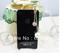 Free Shipping Elegant Alloy Bling Bling Ball Dust Plug Dust Cap Cell Phone Jewelry Cell Phone Accessories
