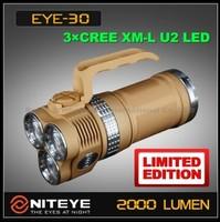 FREE DHL,Niteye EYE30 EYE-30 3x Cree XML-U2 Flashlight++Stainless Steel Ring+holster+aluminium suitcase