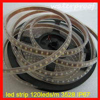 DHL Free shipping waterproof led strip light IP67 120leds/m SMD3528 with Silicon tube flexible strip
