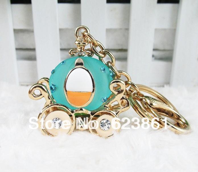 Free shipping 1pcs/lot Ultra-luxury Cinderella's Pumpkin Car Crystal Rhinestone Keychain Handbag Key Ring Accessories(China (Mainland))