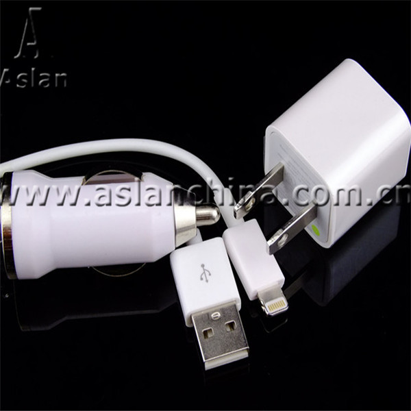 3pcs 3 in 1 For iPhone 5 iPad Mini iTouch5 Mobile Phone Charger Kits Manufacture Price (US Home Charger,Car Charger,8pin Cable)(China (Mainland))