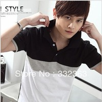 Korea Fashion Men's Casual Slim Fit  Short Sleeve Turn-down Collar T-Shirt Top 2 Colors Free Shipping